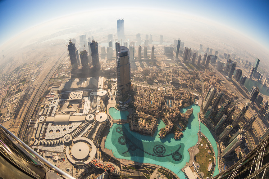 Aerial view of Downtown Dubai from Burj Khalifa, Dubai, United Arab Emirates